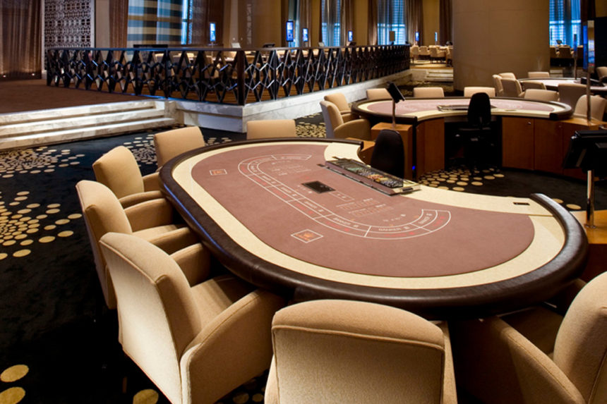 Luxury baccarat gaming table